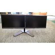 """Dual Monitors Fujitsu Widescreen 20"""" (19.5"""") LED 1600x900 c/w Desktop Stand & Cables"""