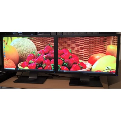 "2 x Dell P2210 'Grade A' LCD 22"" Dual Monitors VGA, DVI and Mains Cables included"