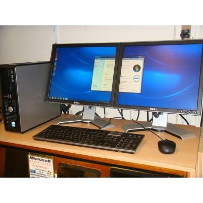 Dell Optiplex 760 Dual Screen Win 7 Sytem 2GB Ram c/w 2 x17